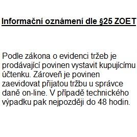 EET - Informační oznámení dle §25 ZOET